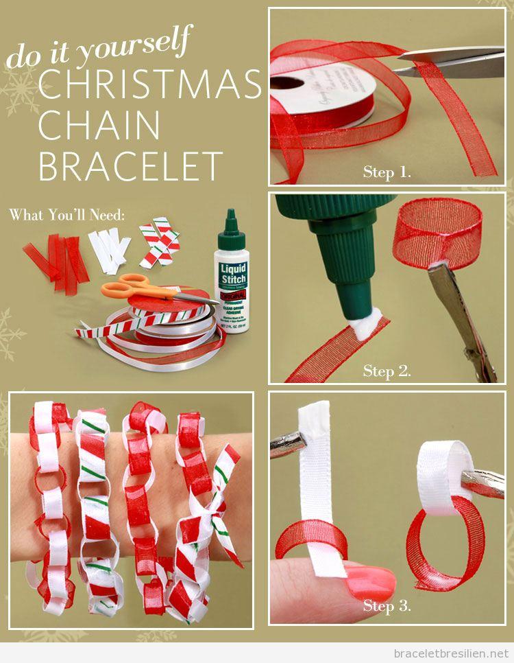 Tuto bracelet DIY Noël enchaîné