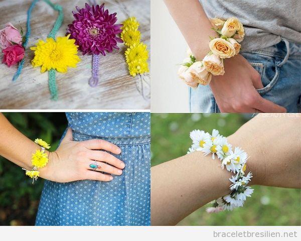 Bracelets DIY avec des fleurs naturelles, en papier et en perles