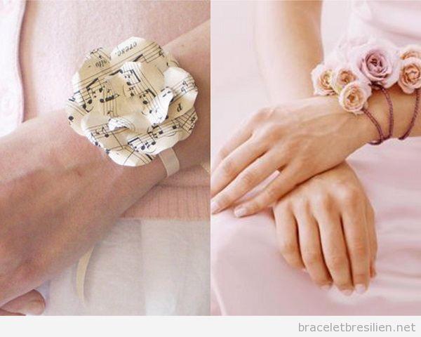 Bracelet DIY avec des fleurs en papier