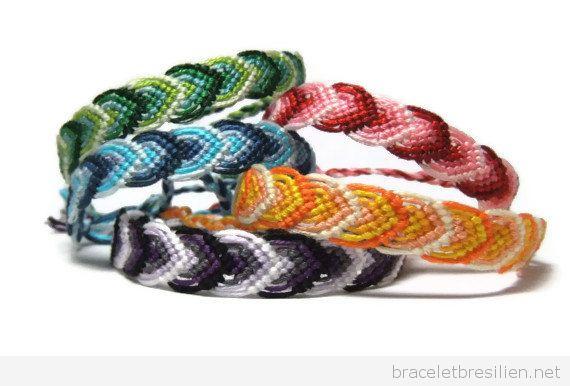 Bracelets brésiliens motif feuilles d'automne + schème + vidéo pas à pas